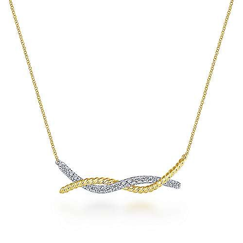14K Yellow-White Gold Twisted Rope and Pave Diamond Bar Necklace