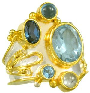 SS and YG Blue Topaz Ring