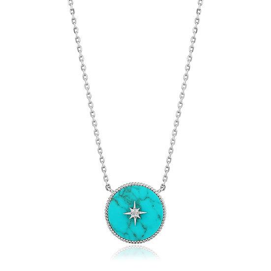 Silver Turquoise Emblem Necklace