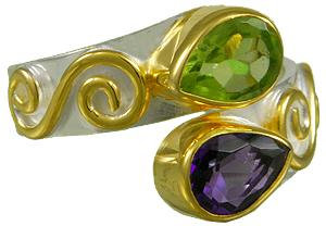 SS and YG Peridot and Blue Topaz Ring