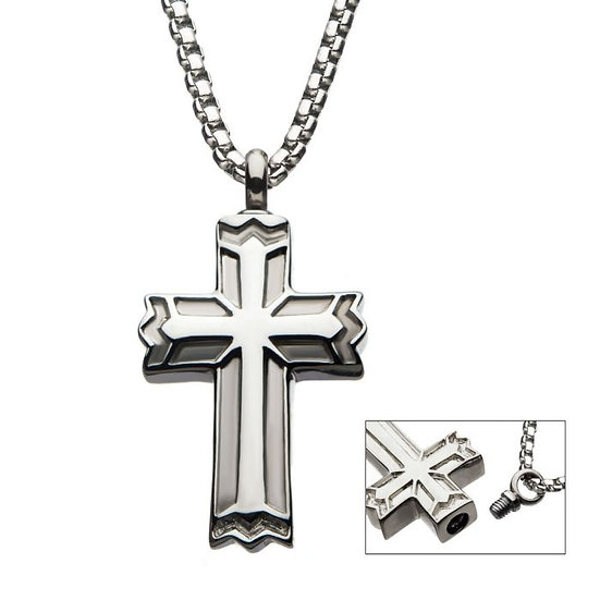Stainless Steel Stash Gothic Cross Pendant wiith Steel Box Chain