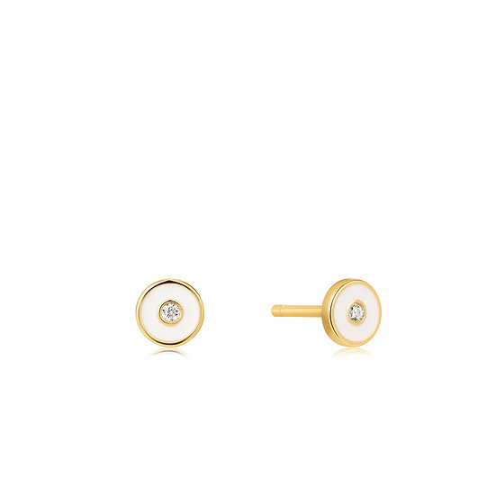 Optic White Enamel Disc Stud Earrings