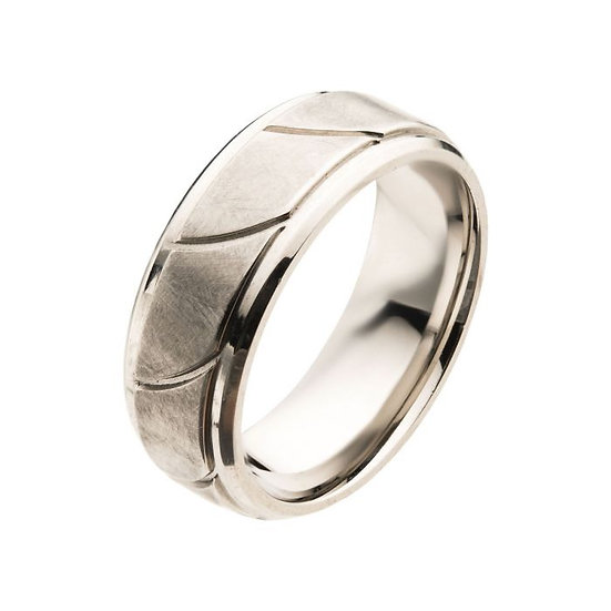 Steel Brushed with Grooves Beveled Ring