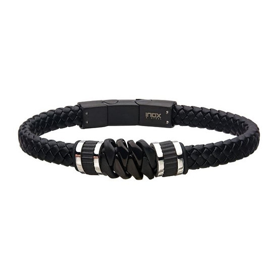 Black Braided Leather with Black IP Serrated Station Bracelet