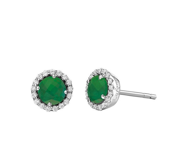 Lafonn Simulated Emerald Stud Earrings