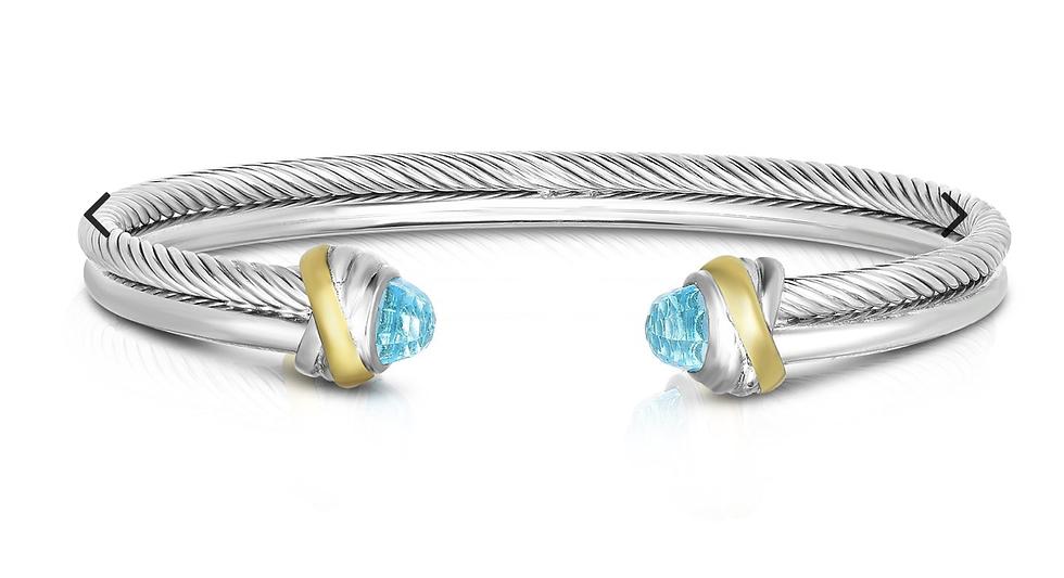 Sterling Silver & 18K Gold Italian Cable Cortina Cuff Bangle in Blue Topaz