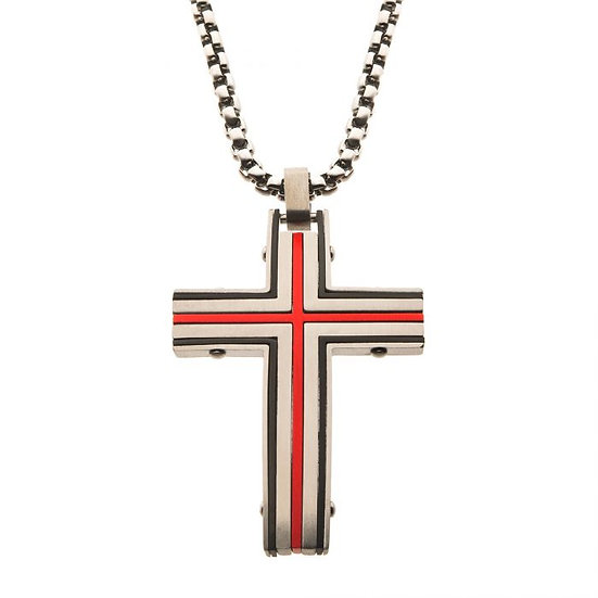 Steel & Red Plated Dante Cross Pendant with Chain