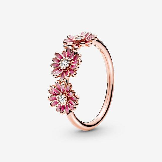Pandora Pink Daisy Flower Trio Ring
