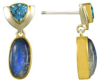 Moonstone and Blue Topaz Earrings