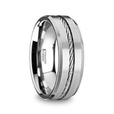 Tungsten Wire Cable Mens Wedding Band