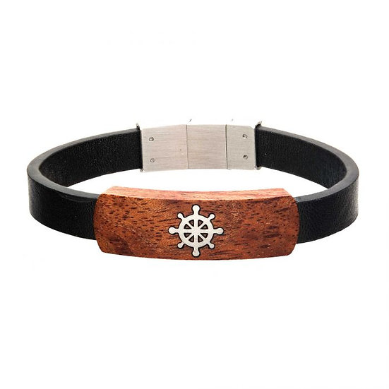 Black Leather with Ship's Wheel in Red Wood Bracelet