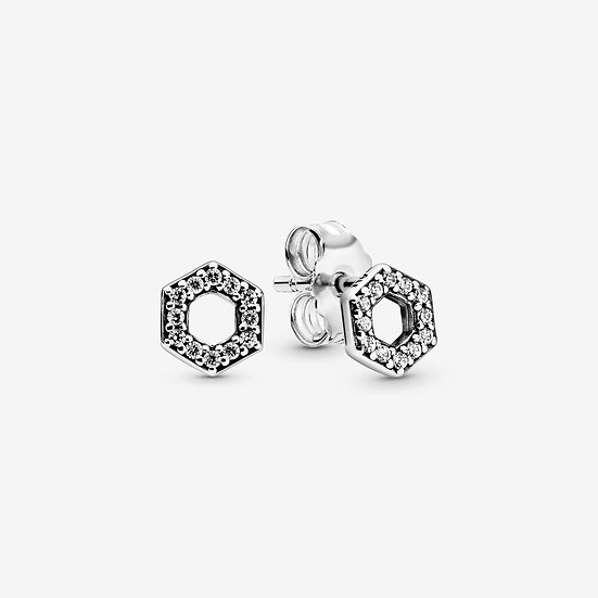 Pandora Sparkling Honeycomb Hexagon Stud Earrings