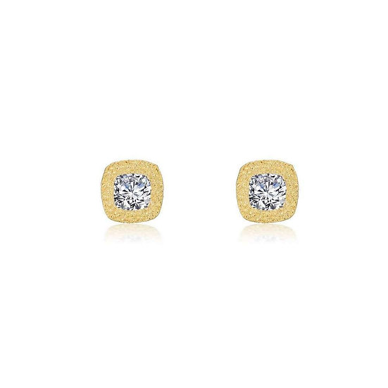 Brushed Gold Simulated Diamond Earrings