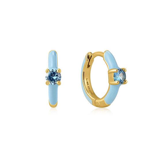 Powder Blue Enamel Huggie Hoop Earrings