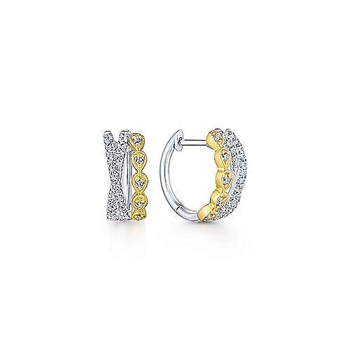 14K Yellow-White Gold Criss Cross 10mm Diamond Huggie Earrings