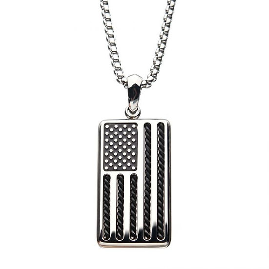 American Flag Stainless Steel Enamel Pendant