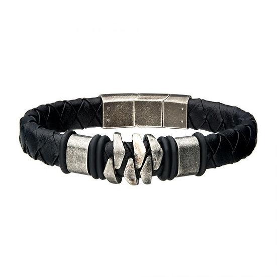 Steel and Gun Metal Black Leather Bohemian Bracelet