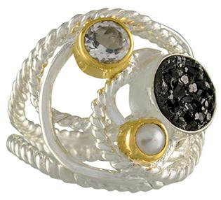 SS and YG White Topaz and Pearl Ring