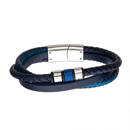 Blue Plated Beads with Blue Leather Layered Bracelet