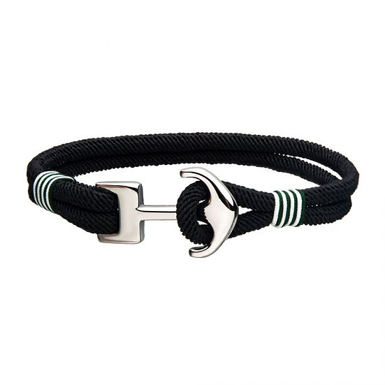 Black Paracord Rope with Steel Anchor Clasp Bracelet