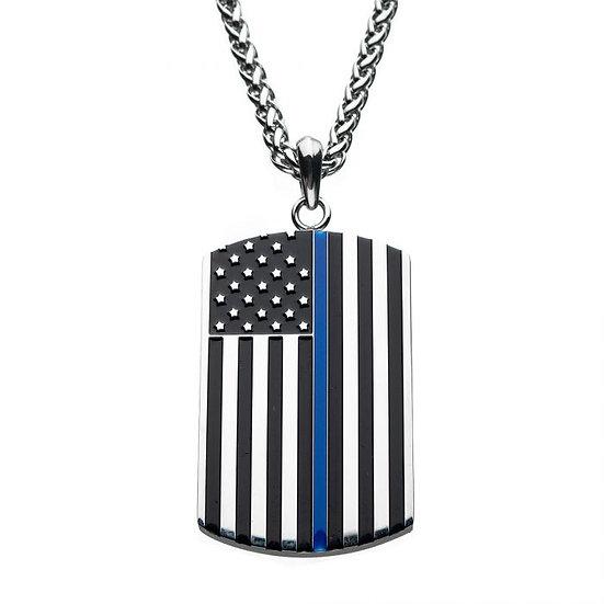 Thin Blue Line American Flag Dog Tag Enamel Pendant