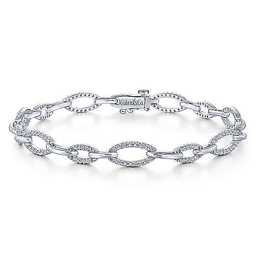 14K White Gold Graduating Diamond Link Tennis Bracelet