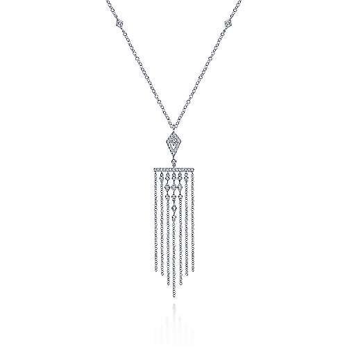 14K White Gold Fringe Diamond Accent Necklace