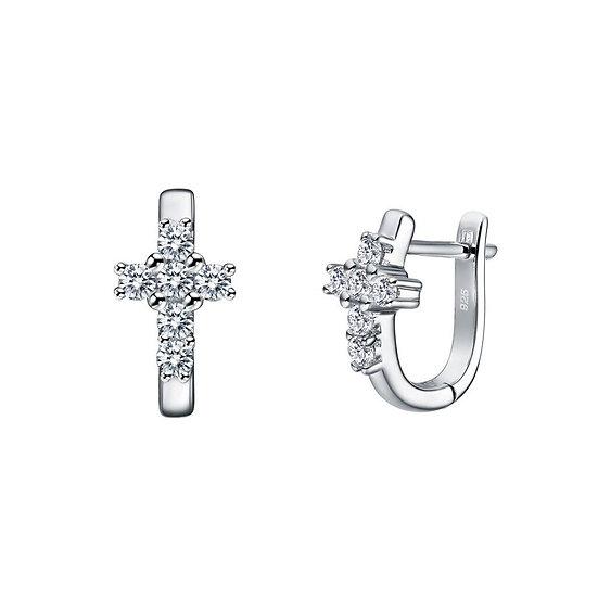 Lafonn Huggie Cross Earrings