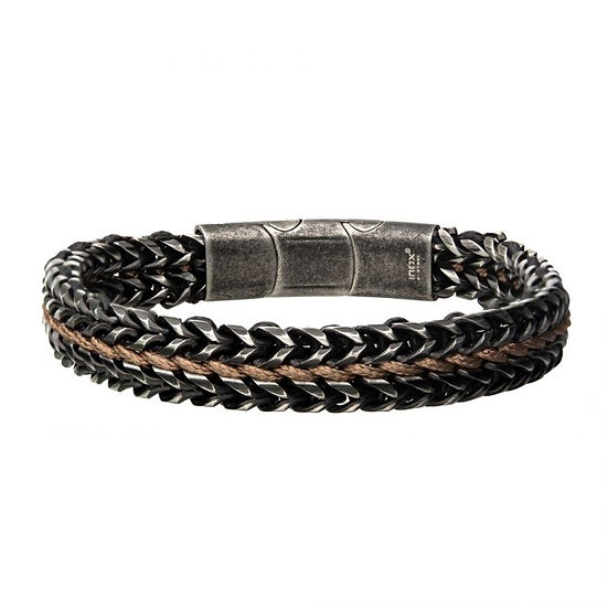 Stainless Steel Bracelet with Brown Wax Cord