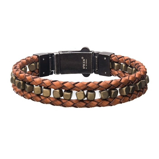 Brown Braided Leather with Gold Hematite Bead Bracelet