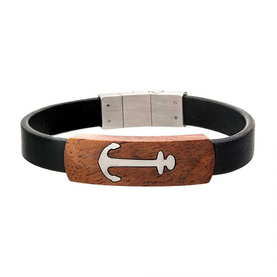 Black Leather with Anchor in Red Wood Bracelet