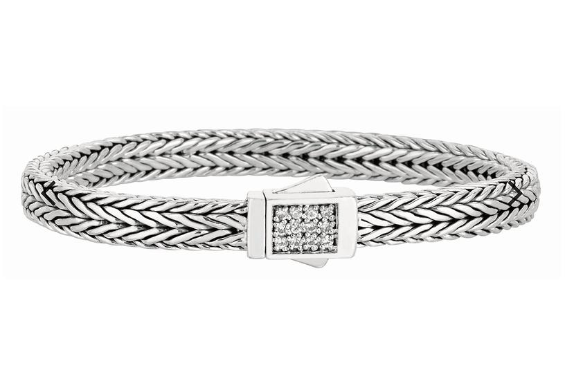 Sterling Silver Signature Woven Sapphire Lock Bracelet