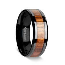 Wood Inlaid Black Titanium Ring with Bevels