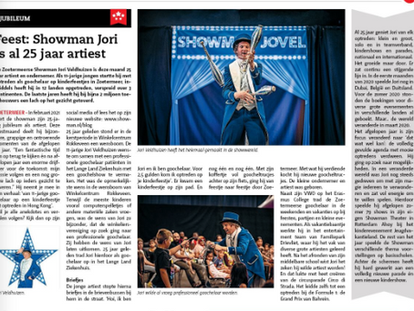 """In de media - """"Feest: Showman Jori is al 25 jaar artiest"""""""