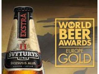 Svyturys Ekstra lager wins GOLD in the 2014 World Beer Awards Europe
