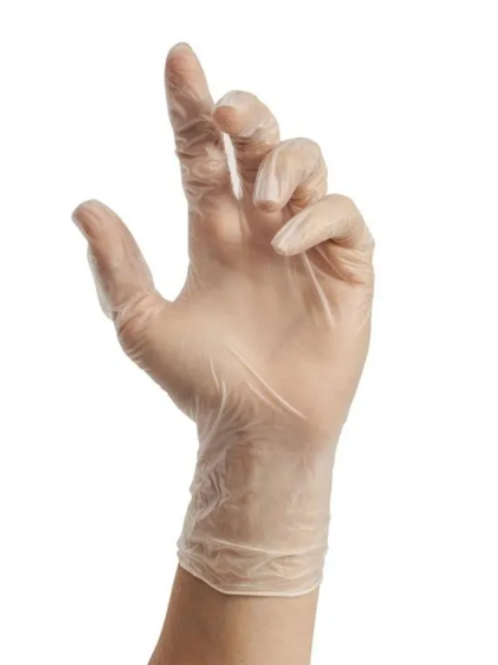 Stellar Medical Grade Clear Vinyl Disposable Gloves 4MIL THICK. - BOX / 100