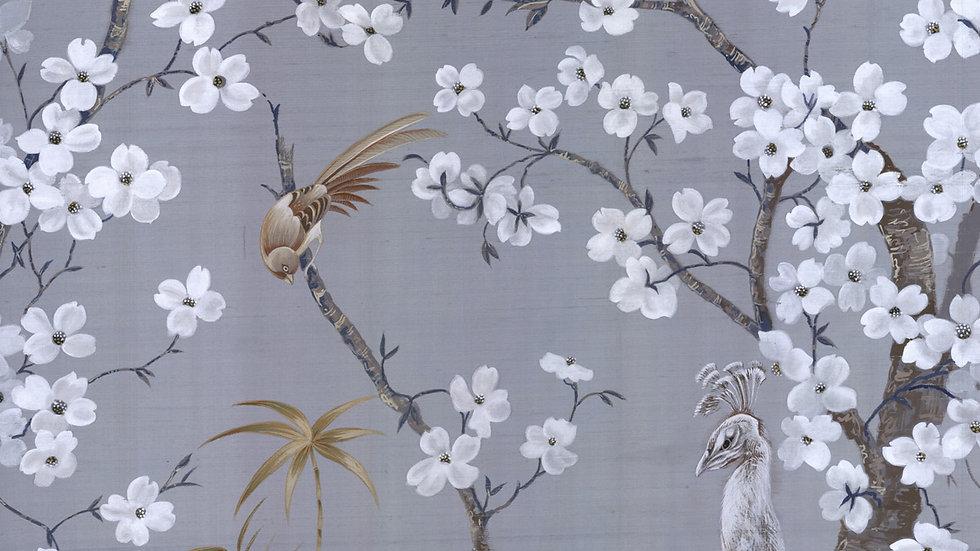 Peacock Paradise Handwoven Silk Mural Wallpaper