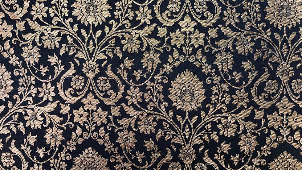 Vintage Lotus - Handloom Silk Fabric