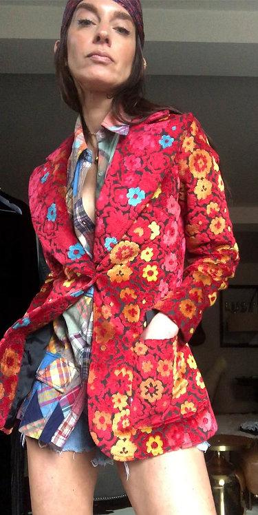Floral Patterned Velvet Jacquard Blazer from the 1970's
