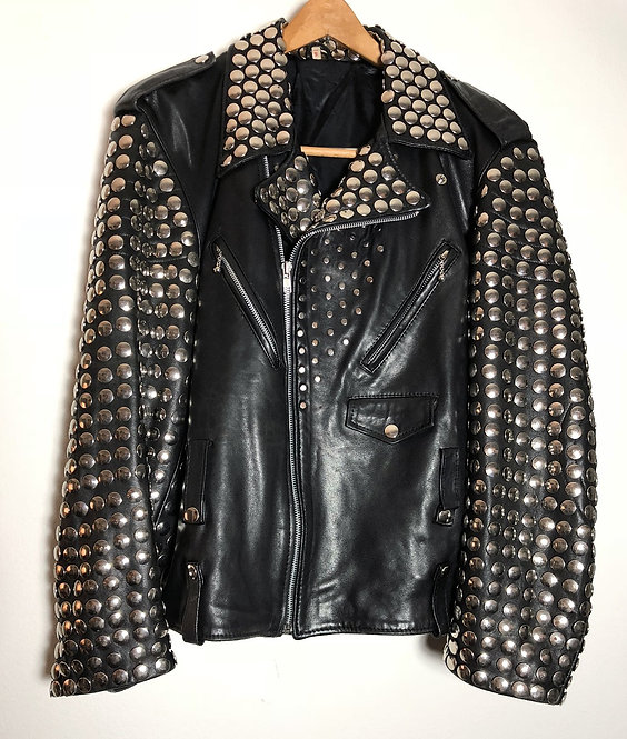 MEN'S STUDDED VINTAGE MOTORCYCLE JACKET FROM 1990's