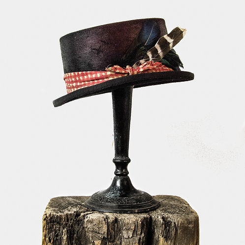 Top Hat in Black Beaver Felt with Feathers