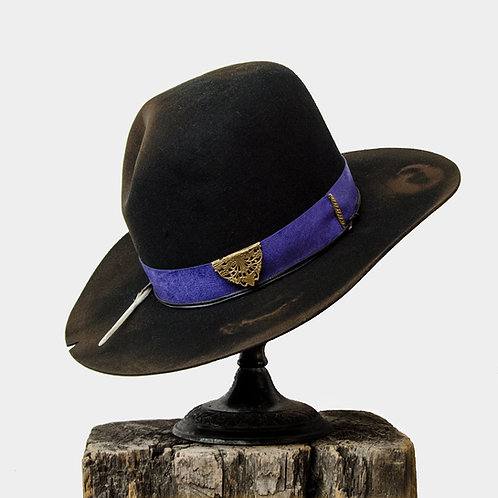 Upcycled Vintage Stetson Beaver Felt Hat with Purple Band