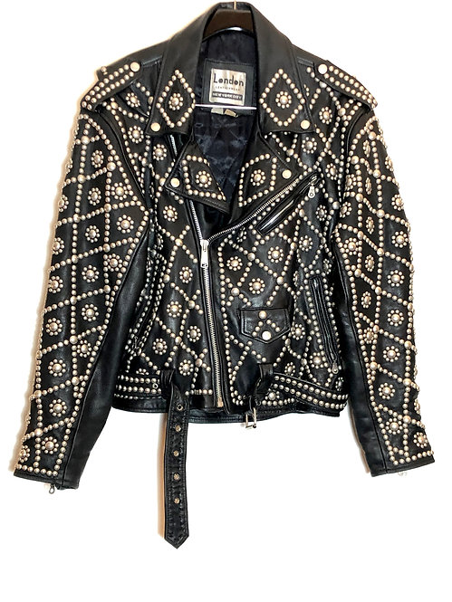MEN'S PUNK ROCK HEAVILY STUDDED MOTORCYCLE JACKET FROM 1980's