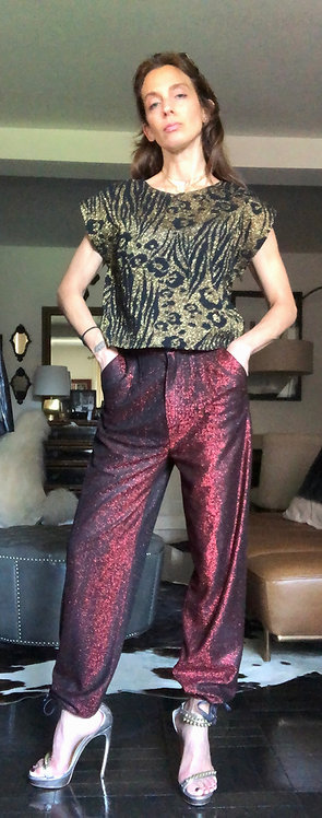 Black/Red Lurex Disco Pants from Late 70's/Early 80's