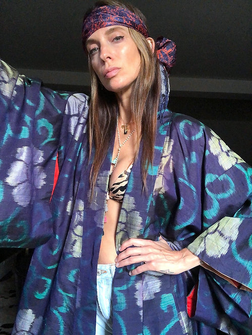 Silk Floral Print Ikat Kimono from the 1920's