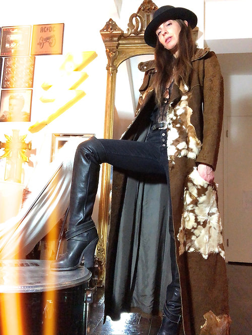 Custom Made Suede & Hair-calf Western Duster Coat from 1970's