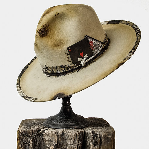 3 of Hearts Cream Beaver Felt Hat