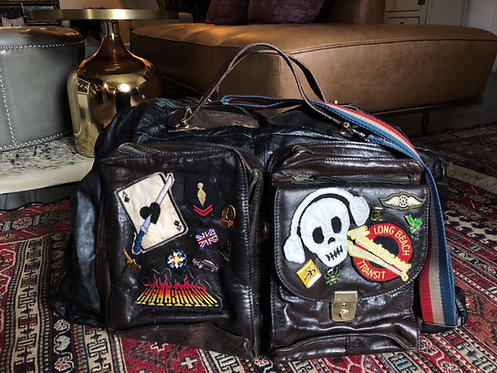 VINTAGE 1970's TRAVELING BAND CUSTOMIZED DUFFEL BAG