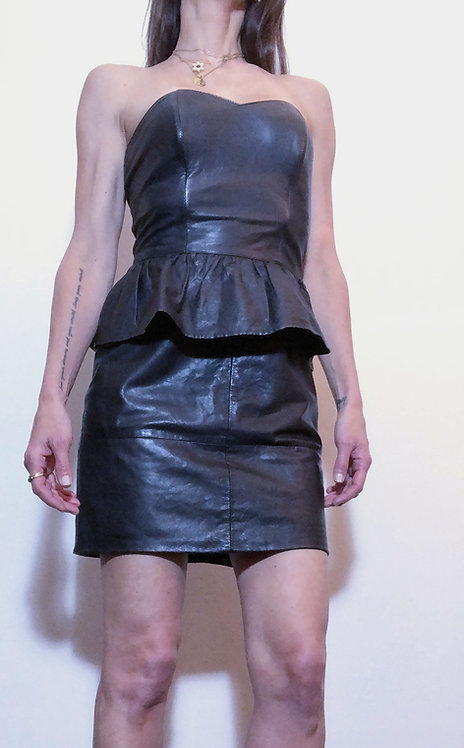 Strapless Black Leather Dress from 1980s