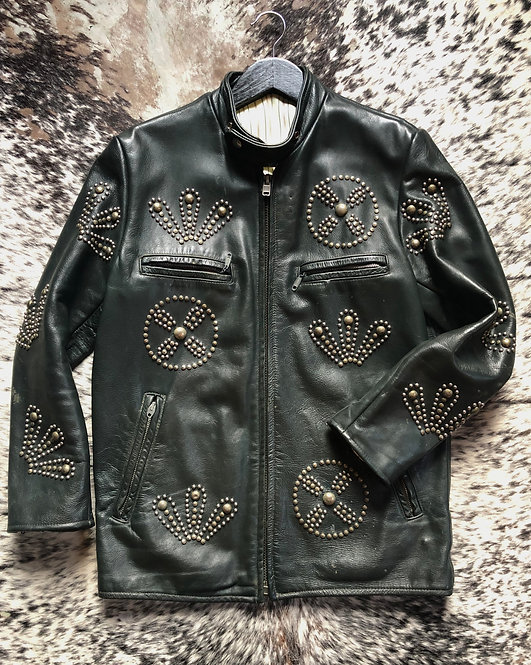 Dark Green Racer Style Motorcycle Jacket from 1970's
